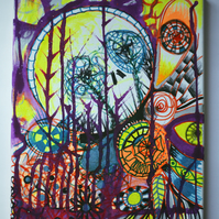 Original Bright Gothic Psychedelic Home Decor Gift,Purple,Yellow,Skulls Art