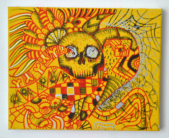 Original Bright Gothic Psychedelic Home Decor Gift,Red,Yellow Skull Art