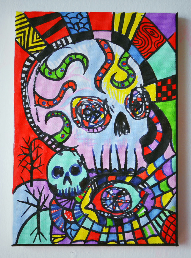 Original Bright Gothic Psychedelic Skull Art Gift,Modern Creepy Home Decor Gift