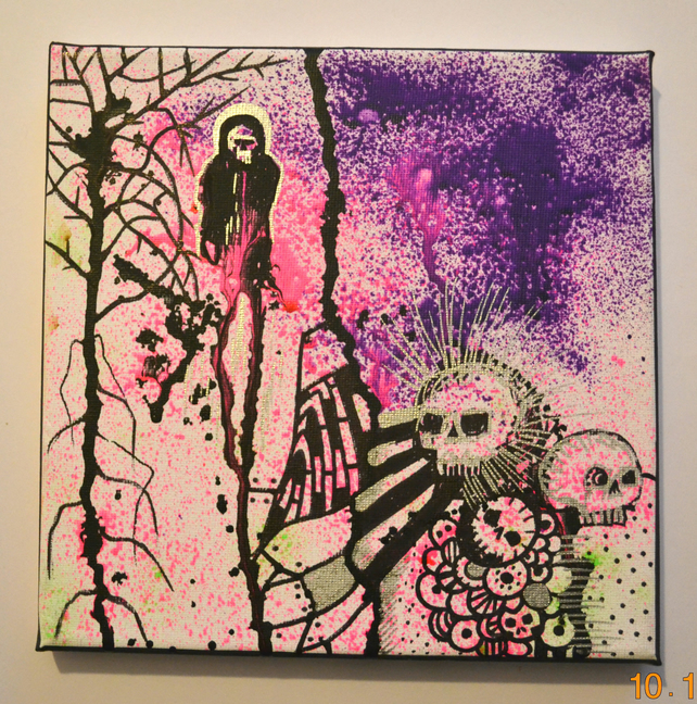 Original Bright Gothic Psychedelic Home Decor Gift,Pink,Purple,Skull Wall Art