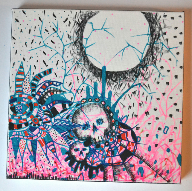 Original Bright Gothic Psychedelic Home Decor Gift,Pink,Blue,Skull Wall Art