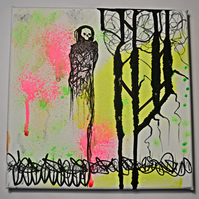 Original Bright Gothic Psychedelic Home Decor Gift,Pink,Yellow,Skeleton Wall Art