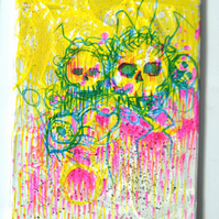 Original Bright Gothic PsychedelicSkulls  Art Gift,Modern Creepy Home Decor Gift