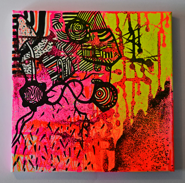 Original Bright Gothic Psychedelic Plant Forms Art Gift, Modern Neon Tree Art