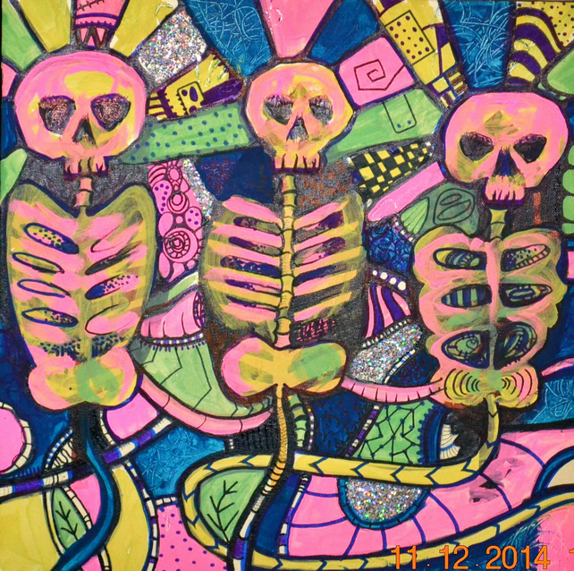 Original Bright Gothic Psychedelic Skeletons UV Art Gift, Modern Cyber Wall Art