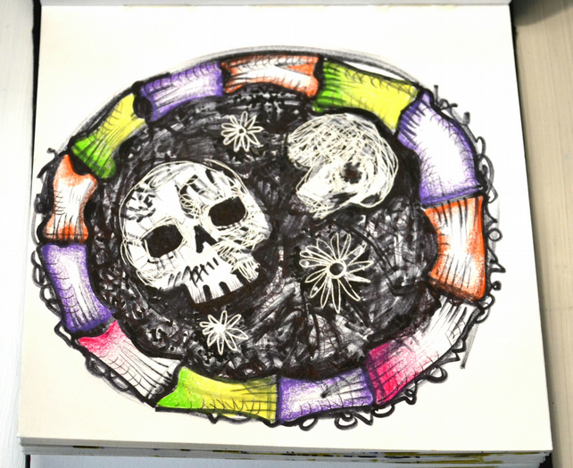 Original Bright Gothic Psychedelic Skulls Drawing,Modern Creepy Home Decor Gift
