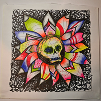Original Bright Gothic Psychedelic Skull Drawing,Modern Creepy Home Decor Gift