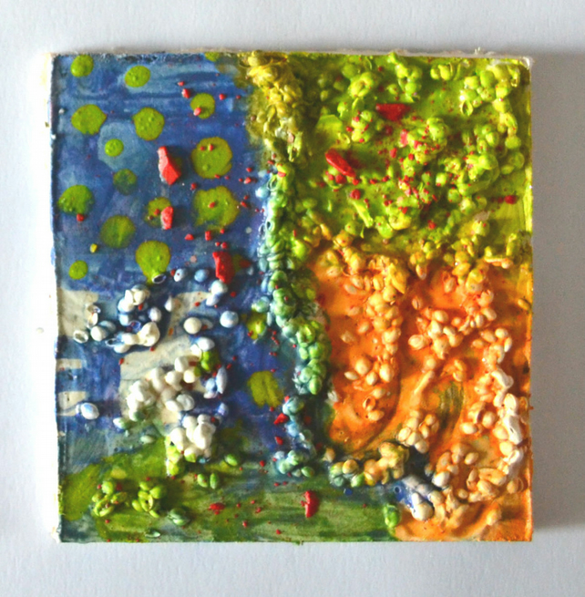 Original Bright Psychedelic Textured Art Gift,Green,Red,Orange Painting