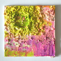 Original Bright Psychedelic Textured Art Gift,Green,Pink,Purple Painting