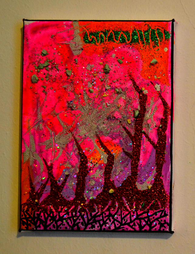 Original Bright Gothic Psychedelic Wall Art Gift,Textured Modern Art Gift