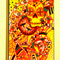 Original Gothic Psychedelic Wall Art,Day of the Dead Painting