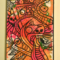 SOLD OUT in 2017  Gothic Psychedelic Wall Art Gift,Day of the Dead Art Gift
