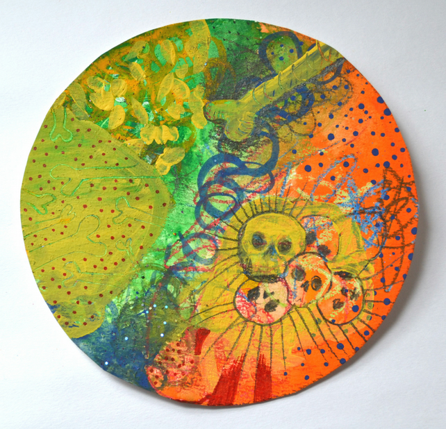 Original Bright Circular Psychedelic Textured Bright Art,Modern Art Home Gift
