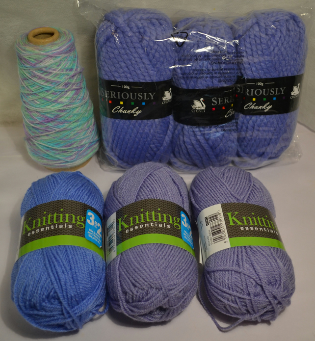 Sirdar Seriously Chunky Light Blue Wool Balls, and Mulitcoloured Wool Cone