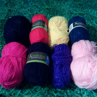 8 Balls of Assorted Multicoloured Yarn, 100 % Acrylic, Some Metallic,Pink,Red