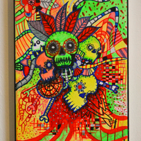 Original Bright Gothic Psychedelic Wall Art Gift,Modern Creepy Home Decor Gift
