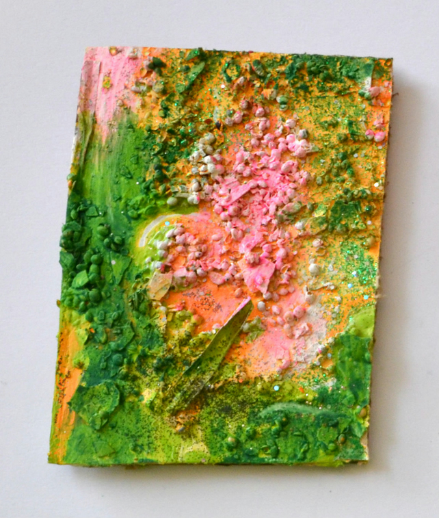 Original Abstract Modern Oil Painting,Pink,Green,Sculpture Art,New Home Gift