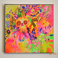 Original Bright Gothic Psychedelic Psychobilly Art,Modern Creepy Home Decor Gift