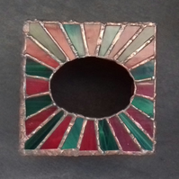 Red and Dark Green Stained Glass Tissue box