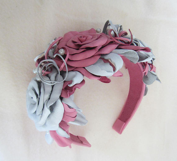 Wedding headband Roses. Wedding Headband. Leather Wedding Headband Rose.
