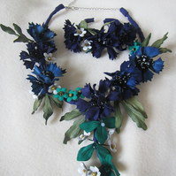Cornflowers necklace and bracelet set,  jewelry leather, wedding jewelry set