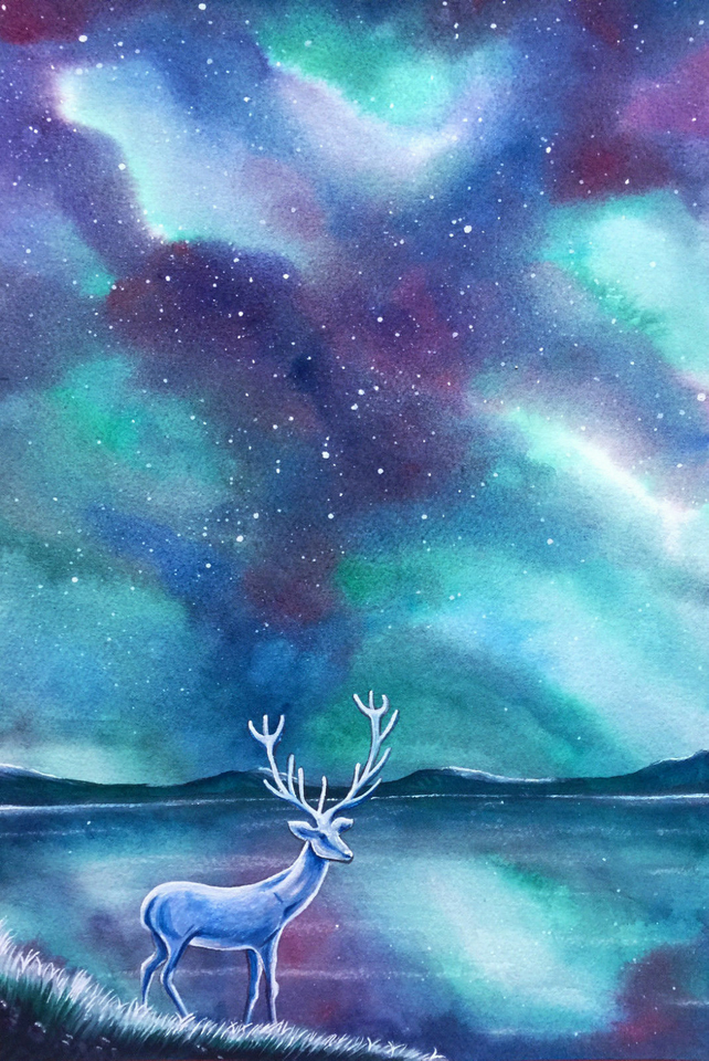 ON SALE Deer Spirit Of The Night Stars Original Watercolour Painting 12.5x8.5""