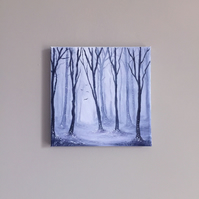 ON SALE - Winter Woods - Original Forest Oil Painting On Canvas - 8x8""