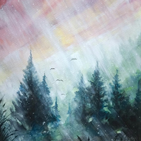 MISTY MOUNTAIN STARS - Fir Tree Forest Original Watercolour Painting 13x9.5""