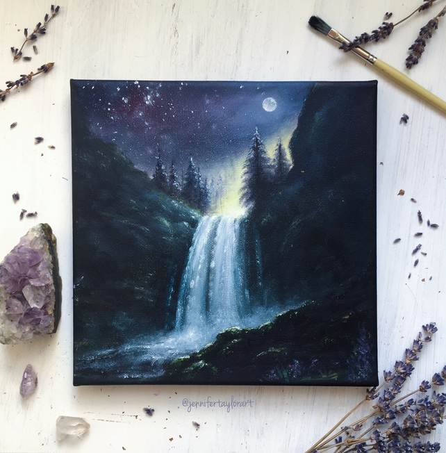 Moonlight Falls - Landscape Original Fantasy Oil Painting On Canvas  - 20x20 cm