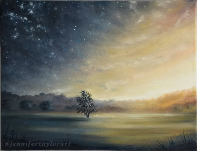 A New Dawn - Stars Landscape Original Fantasy Oil Painting - 40x30 cm