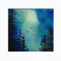 Starlit Skies - Blue - Forest Nightscape Original Painting On Canvas - 20x20cm