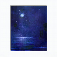 Moonlit Lake - Purple Semi Abstract Lake Original Painting On Canvas  - 23x30cm