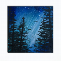 Forest Beams - Blue - Woodland Original Painting On Canvas  - 20x20cm