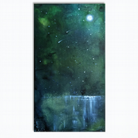 Moon Tide - Green - Semi Abstract Lake Original Painting On Canvas  - 20x38cm