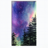 Northern Lights - Pink..Green - Forest Original Painting On Canvas  - 20x38cm