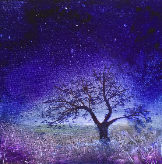 A Purple Starry Night - Stars Colourful Landscape on Canvas - ORIGINAL