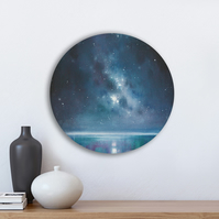 "12""x12"" ORIGINAL Oil Painting- Star Galaxy Night Sky Round Painting On Canvas"