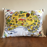 Australian Map Cushion Showing The Sights