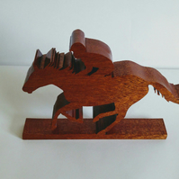 Race Horse & Jockey, horse with rider, solid wooden horse