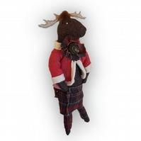 Tweed Moose fabric animal sculpture