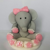 Handmade Edible Custom Baby Shower Elephant Cake Topper