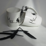 Raven mugs Mr & Mrs His & Hers hand painted personalised to order