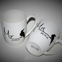 Raven mugs Mr & Mrs His & Hers with date hand painted personalised to order