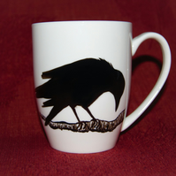 Raven on branch mug hand painted customised to order by RavenTeaLady