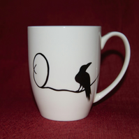 Monogram Raven mug hand painted O initial customised to order