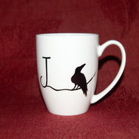 Monogram Raven mug Valentine's mug hand painted J initial mug customised