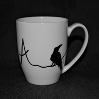Monogram Raven mug hand painted customised to order