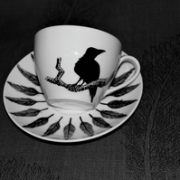 Raven Cappuccino Cup Saucer hand painted customised to order by RavenTeaLady