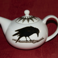 Raven teapot hand painted feather lid detail Edgar Allan Poe quote optional