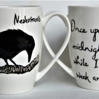 Raven mug Nevermore hand painted The Raven quote on reverse by RavenTeaLady